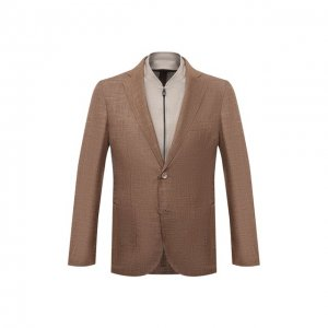 Пиджак из шерсти и шелка Corneliani. Цвет: коричневый
