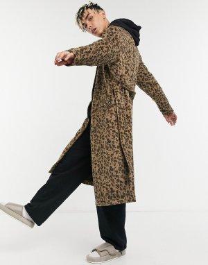 Жаккардовый тренч с леопардовым принтом -Светло-коричневый Vintage Supply