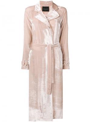 Бархатное пальто с завязками на талии Roberto Collina. Цвет: розовый