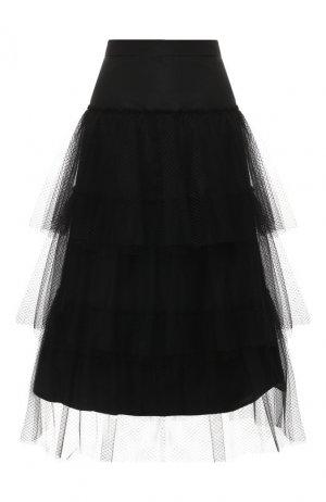 Многоярусная юбка-миди Burberry. Цвет: черный