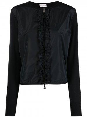 Куртка с оборками и вставками Moncler. Цвет: черный