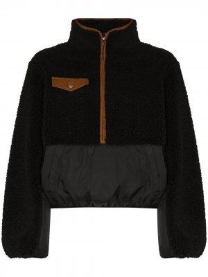 Флисовая куртка на молнии с контрастной вставкой FRAME. Цвет: черный