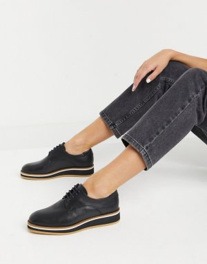 Черные кожаные туфли на шнуровке Franca-Черный Fiorelli