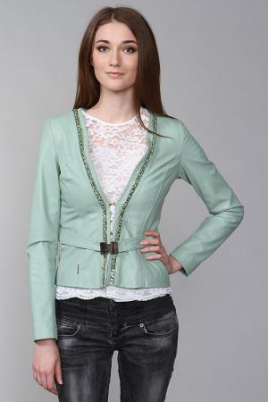 Кожаная куртка Anna Rita N. Цвет: зеленый