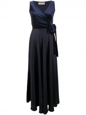 Длинное двухцветное платье с запахом Blanca Vita. Цвет: синий