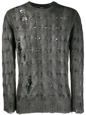 Трикотажный свитер с эффектом потертости Avant Toi. Цвет: серый