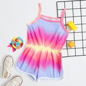 Многоцветный Контрастная отделка Галстуковый краситель Бохо Комбинезоны для девочек SHEIN. Цвет: многоцветный