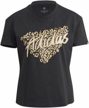 Футболка женская adidas Leopard Graphic, размер 42-44. Цвет: черный