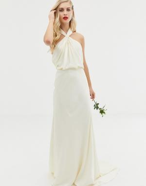 Кружевное свадебное платье макси с американской проймой Valentina-Кремовый ASOS EDITION