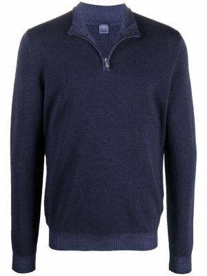 High neck zip-front jumper Fedeli. Цвет: синий