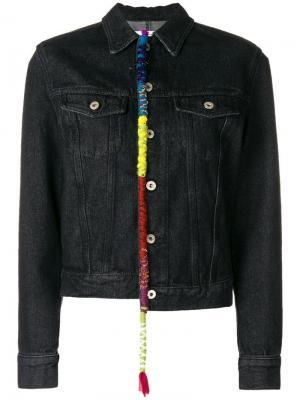 Джинсовая куртка с вышивкой Loewe. Цвет: черный