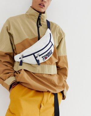 Белая сумка-кошелек на пояс с логотипом Tommy Jeans. Цвет: белый