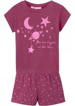 Пижама с шортами (2 изд.) bonprix. Цвет: лиловый