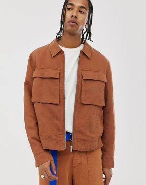 Комбинируемая льняная куртка Харрингтон -Коричневый ASOS WHITE