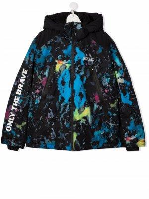 Лыжная куртка Jodelly-Ski с принтом тай-дай Diesel Kids. Цвет: черный