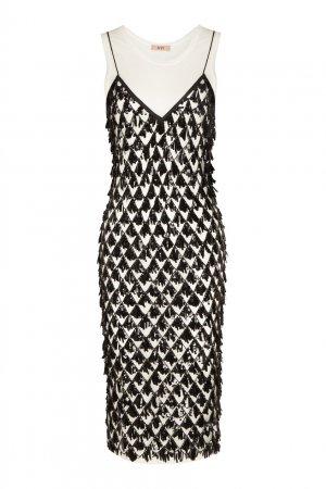 Комбинированное черно-белое платье с пайетками No.21. Цвет: черно-белый