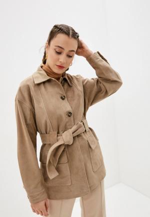 Куртка кожаная Selected Femme. Цвет: бежевый