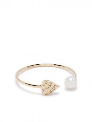 Кольцо из желтого золота с бриллиантами и жемчугом Mizuki. Цвет: золотистый