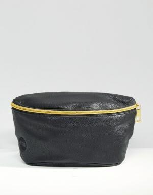 Сумка-кошелек на пояс в кожаном стиле Mi-Pac. Цвет: черный
