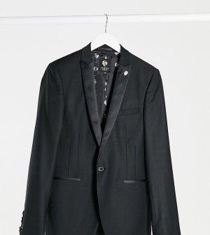 Черный пиджак с атласными лацканами TALL-Черный цвет Twisted Tailor