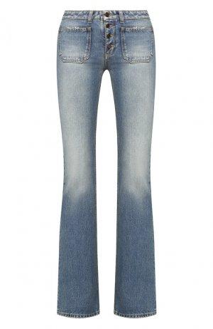 Расклешенные джинсы с потертостями Saint Laurent. Цвет: синий