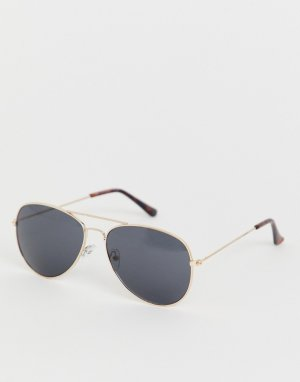 Золотистые солнцезащитные очки-авиаторы -Золотой New Look