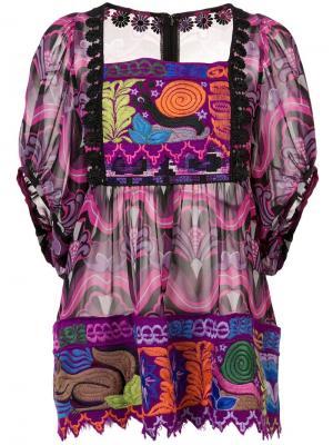 Узорчатый топ Kosmik Kaleidoscope с вышивками Anna Sui. Цвет: розовый