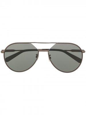 Солнцезащитные очки-авиаторы в матовой оправе Brioni. Цвет: серый