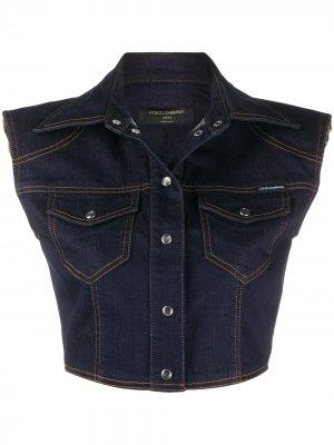 Укороченный жилет из денима Dolce & Gabbana. Цвет: синий