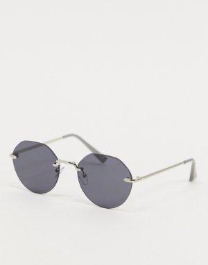 Серебристые солнцезащитные очки без оправы с дымчатыми стеклами -Серебристый ASOS DESIGN