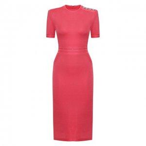 Платье из вискозы Balmain. Цвет: розовый