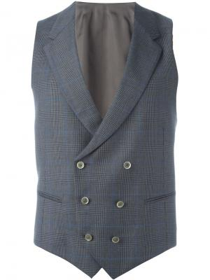 Double breasted plaid waistcoat Caruso. Цвет: серый