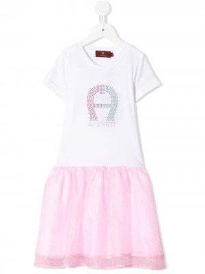 Платье с юбкой из тюля Aigner Kids. Цвет: розовый