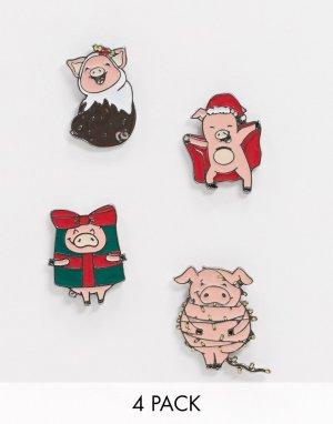 Набор новогодних значков в виде укутанных одеяло свинок -Мульти ASOS DESIGN