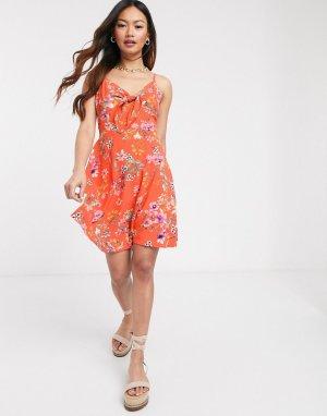 Оранжевое короткое приталенное платье с цветочным принтом -Оранжевый цвет Gilli