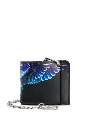 Кошелек с цепочкой и принтом Wings Marcelo Burlon County of Milan. Цвет: черный