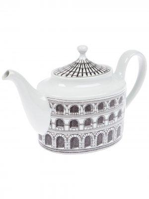 Чайник с архитектурным принтом Fornasetti. Цвет: черный