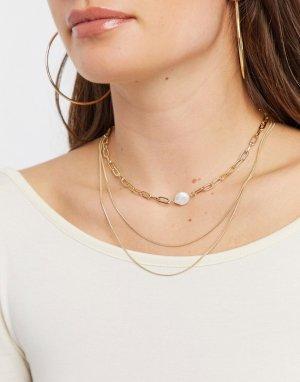 Золотистое ожерелье с тремя цепочками -Золотой French Connection