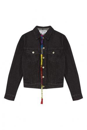 Джинсовая куртка с цветной отделкой LOEWE. Цвет: черный