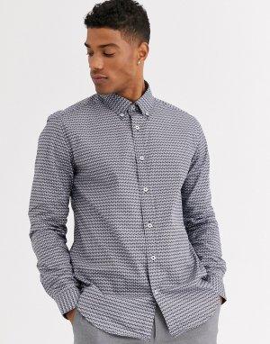Приталенная рубашка с геометрическим принтом -Белый Ben Sherman