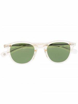 Солнцезащитные очки в круглой оправе Garrett Leight. Цвет: зеленый