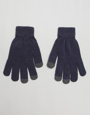 Серые перчатки с отделкой для сенсорных устройств -Серый SVNX