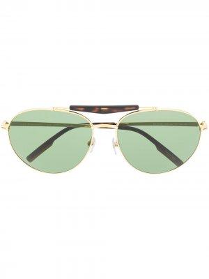 Солнцезащитные очки в круглой оправе Ermenegildo Zegna. Цвет: золотистый