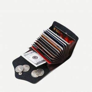 Складной Кошелек Для Кредитных Карт SHEIN. Цвет: чёрный