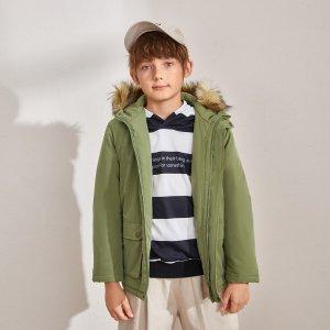 Пальто-парка с капюшоном и карманом для мальчиков SHEIN. Цвет: армейский зеленый