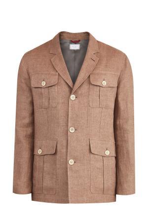Пиджак в стиле сафари изо льна с накладными карманами BRUNELLO CUCINELLI. Цвет: коричневый