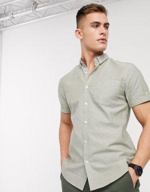 Оксфордская рубашка цвета хаки с короткими рукавами -Зеленый New Look