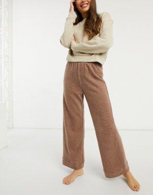 Широкие домашние брюки светло-коричневого цвета -Светло-коричневый Pieces