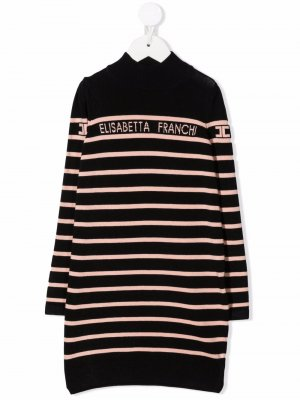 Logo-detail knit dress Elisabetta Franchi La Mia Bambina. Цвет: черный