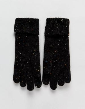 Вязаные перчатки с узором косичка Tom Boardmans. Цвет: черный